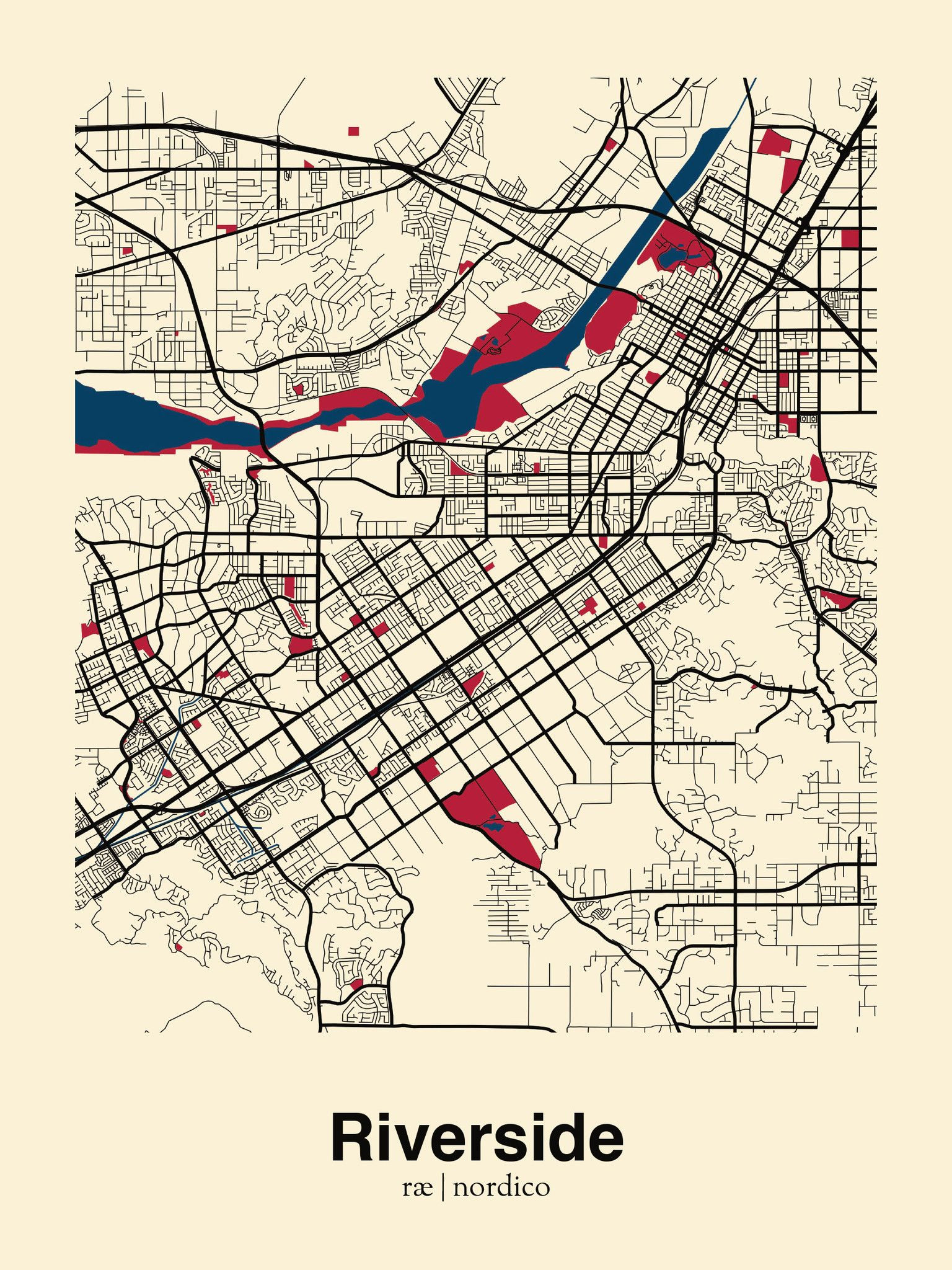 Riverside map print Urban