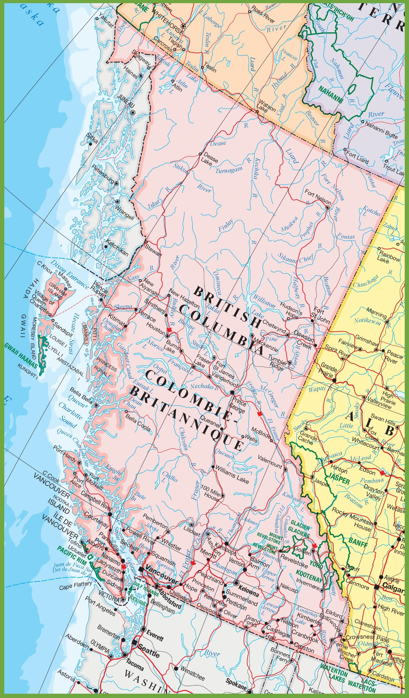 detailed map of British Columbia with cities and towns ï ¿