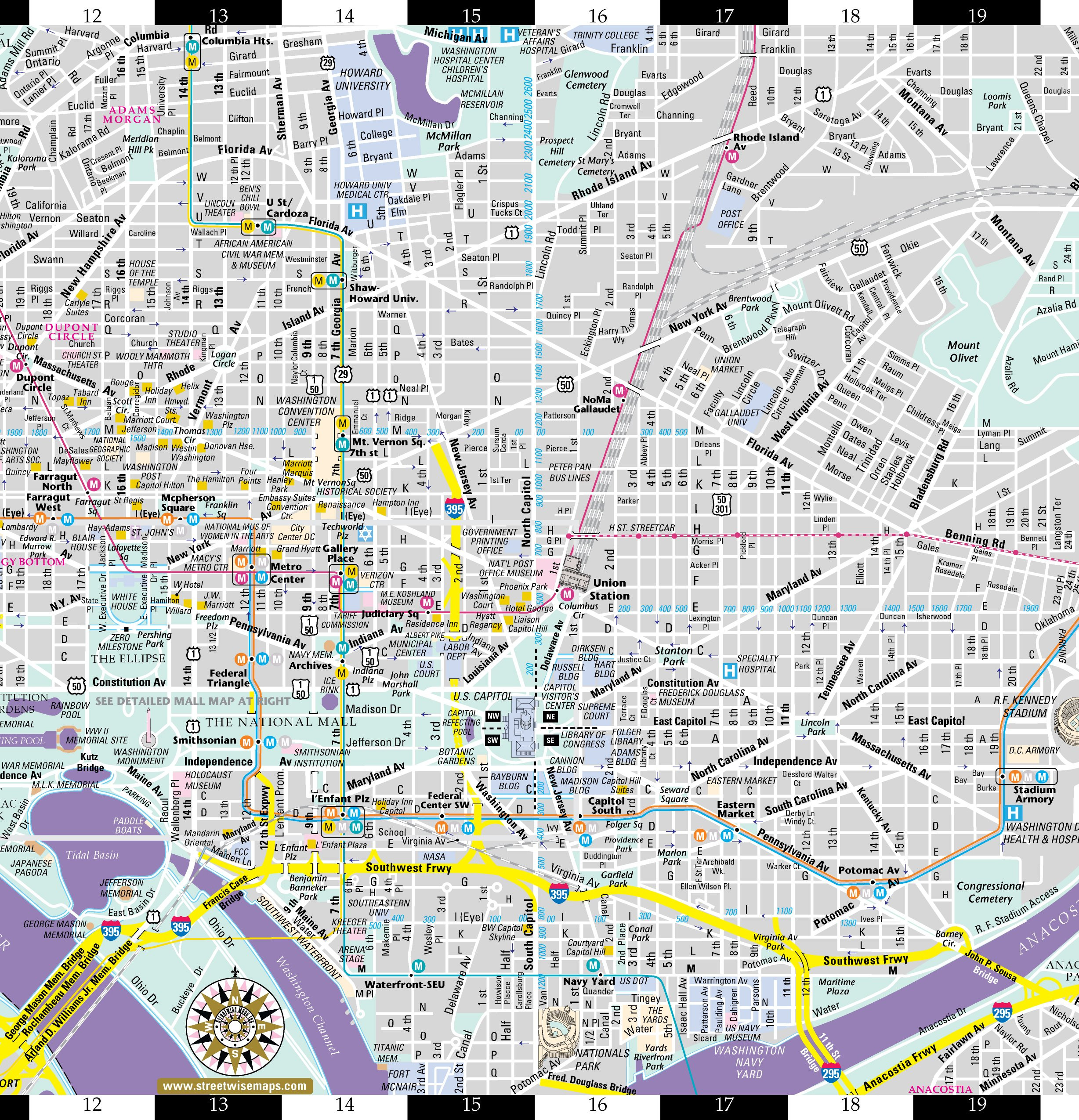Printable Map Washington Dc New Streetwise Washington Dc Map Laminated City Center Street Map Of