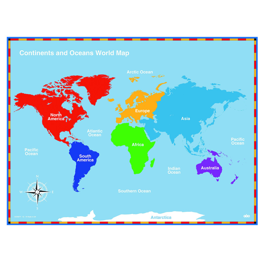 Printable Map With Continents And Oceans New Buy Continents And Oceans Maps Tts Small World Map Soloway Me Best