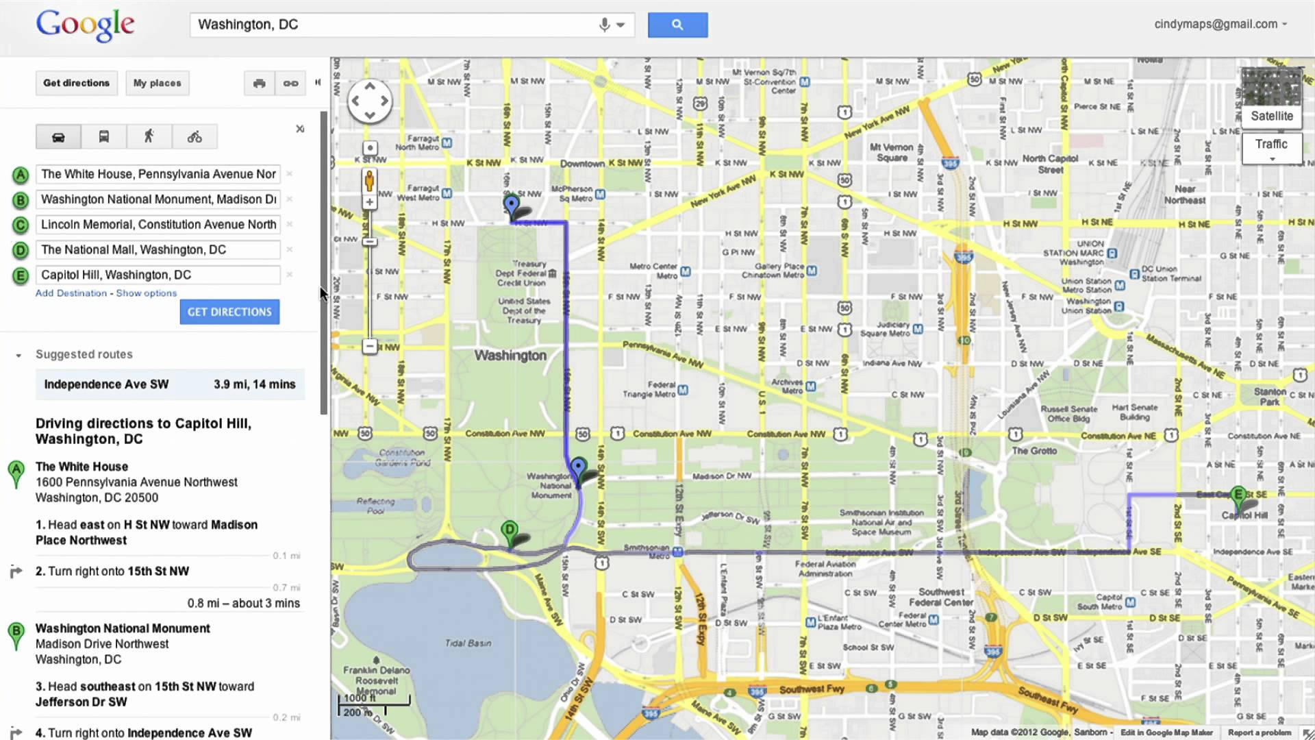 Saving directions in Google Maps