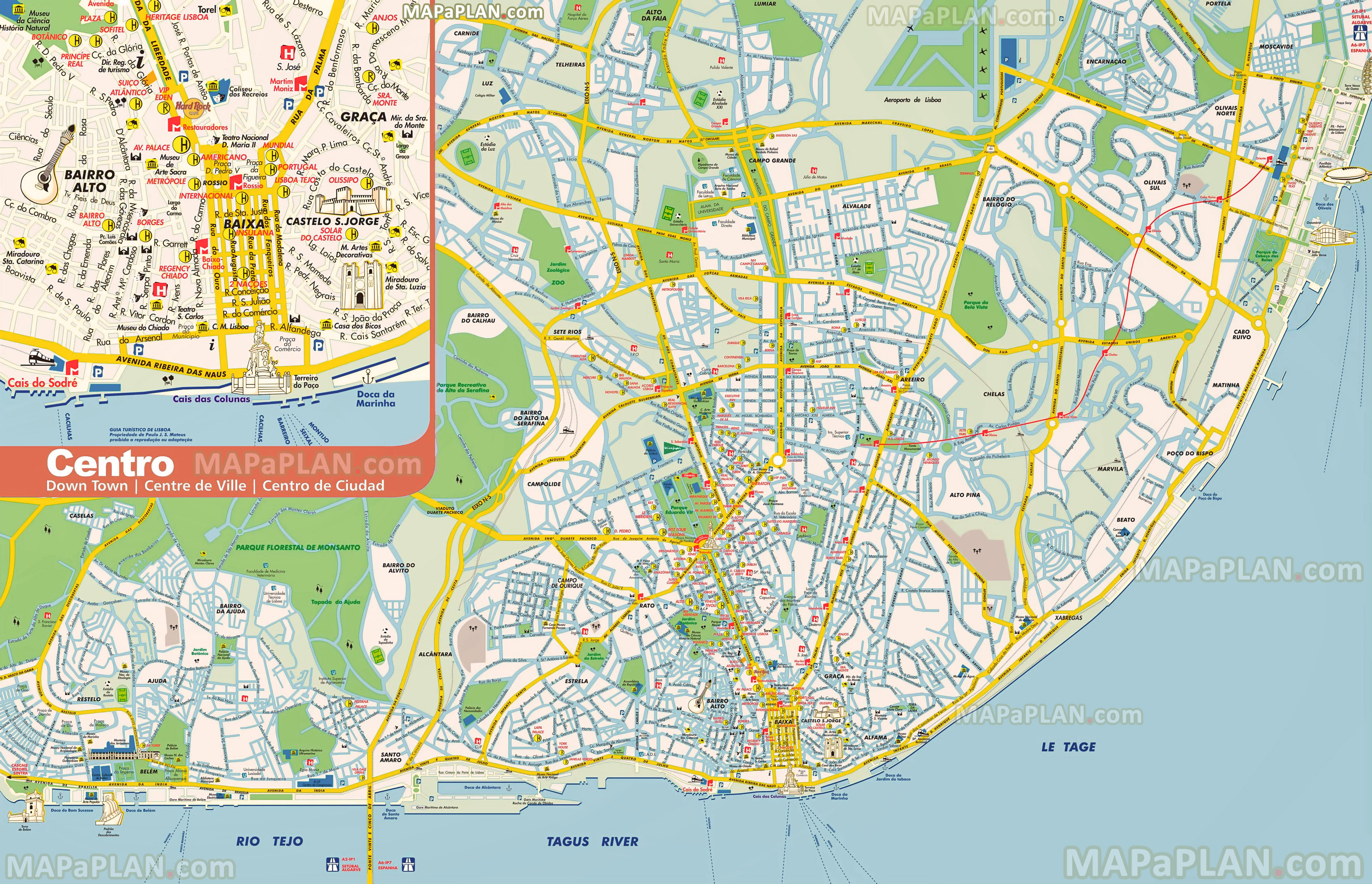 Lisbon maps Top tourist attractions Free printable city street map