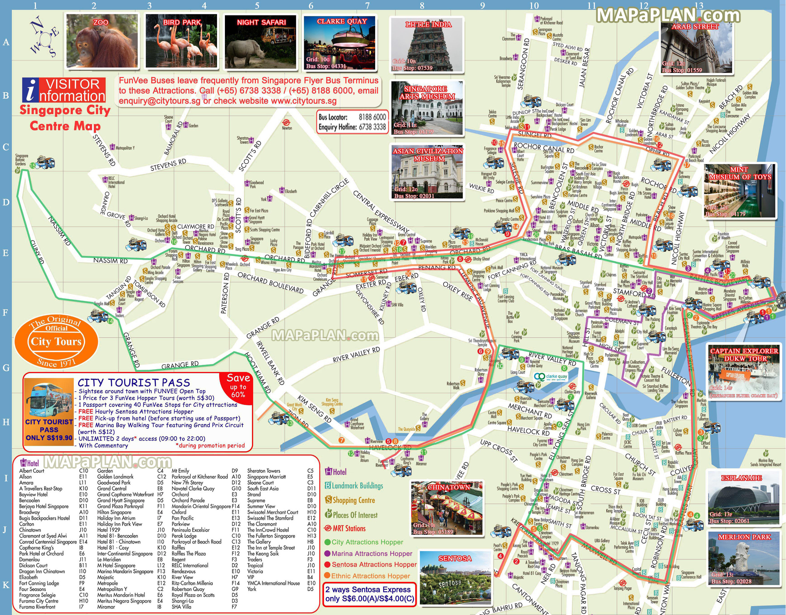 Singapore maps Top tourist attractions Free printable city