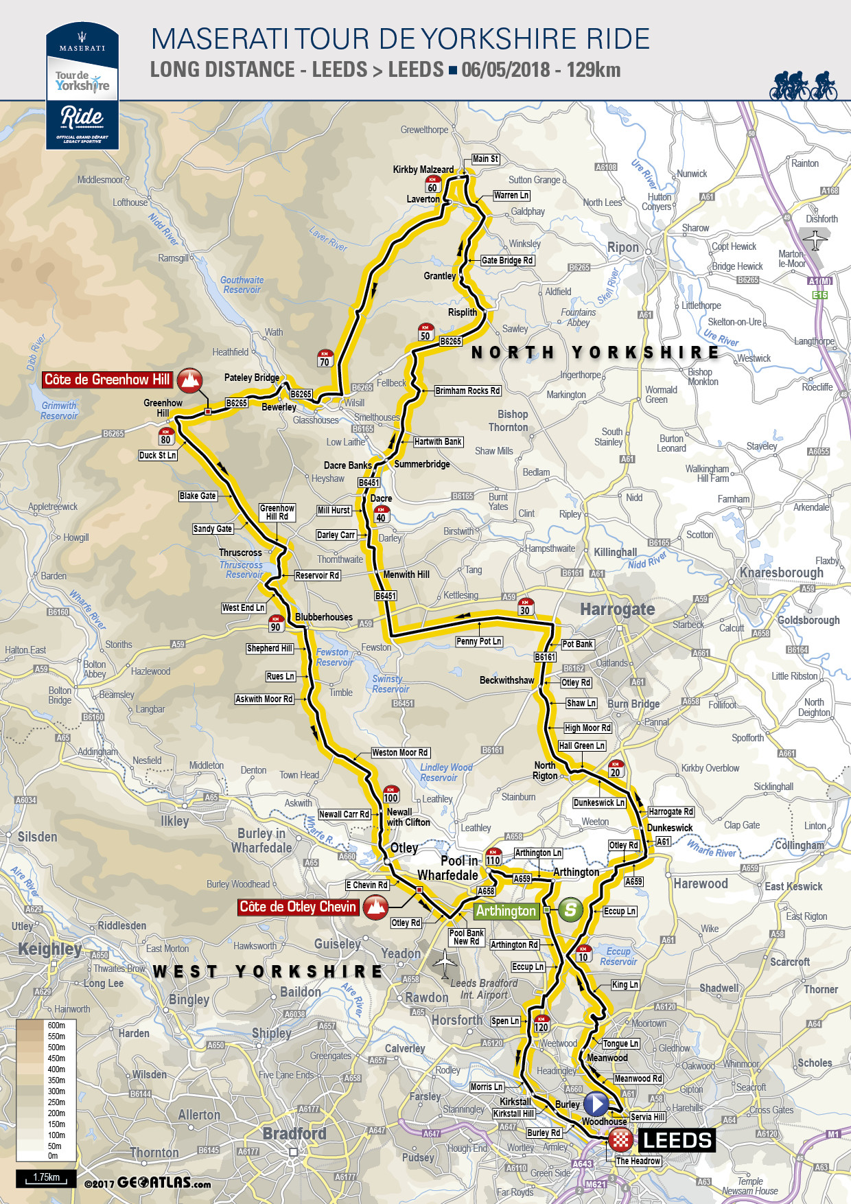 Printable Map Yorkshire Inspirational Tour De Yorkshire Ride