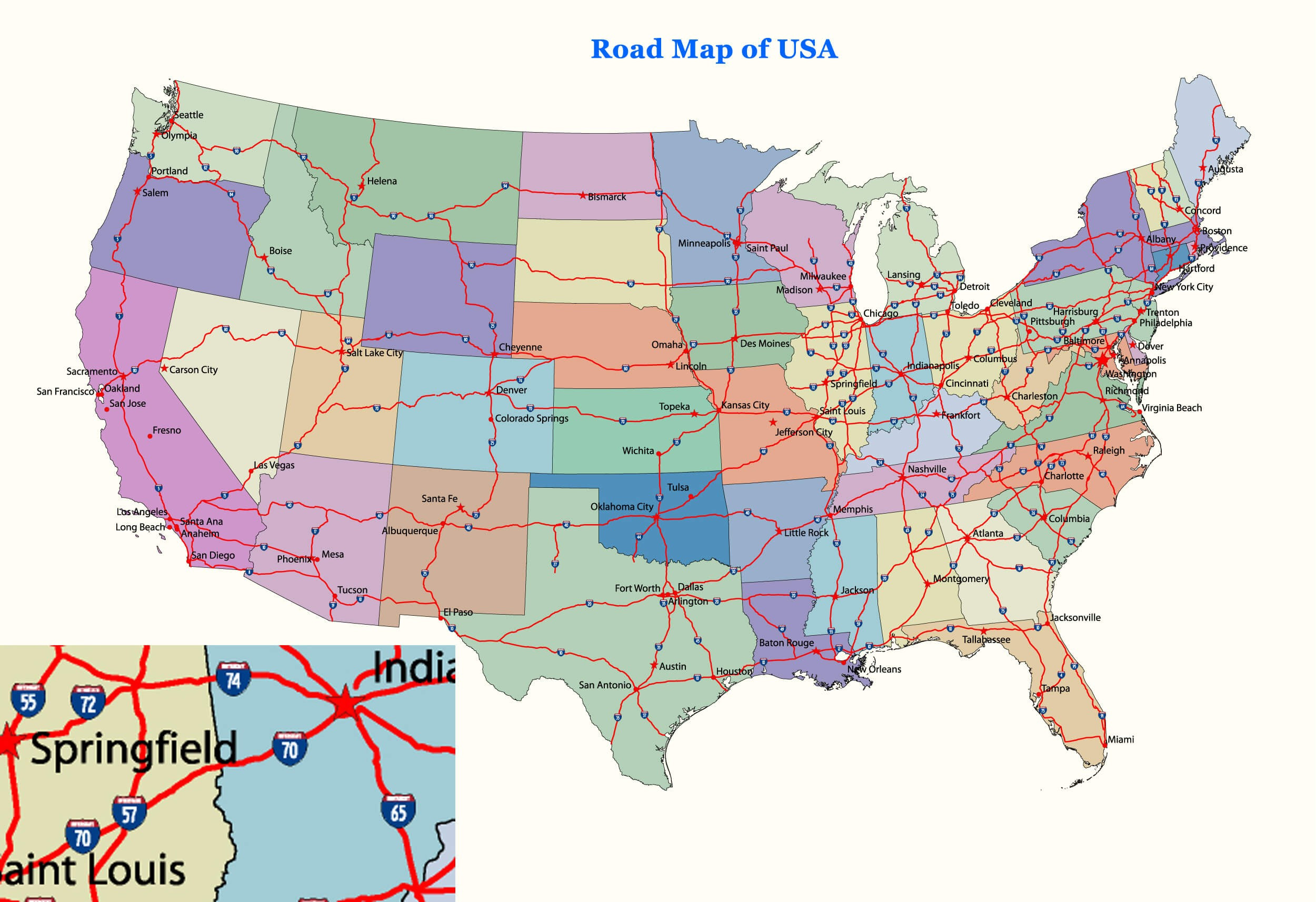 Major Us Cities And Roads Us And Canada States Usa Road Inspirationa Us Major