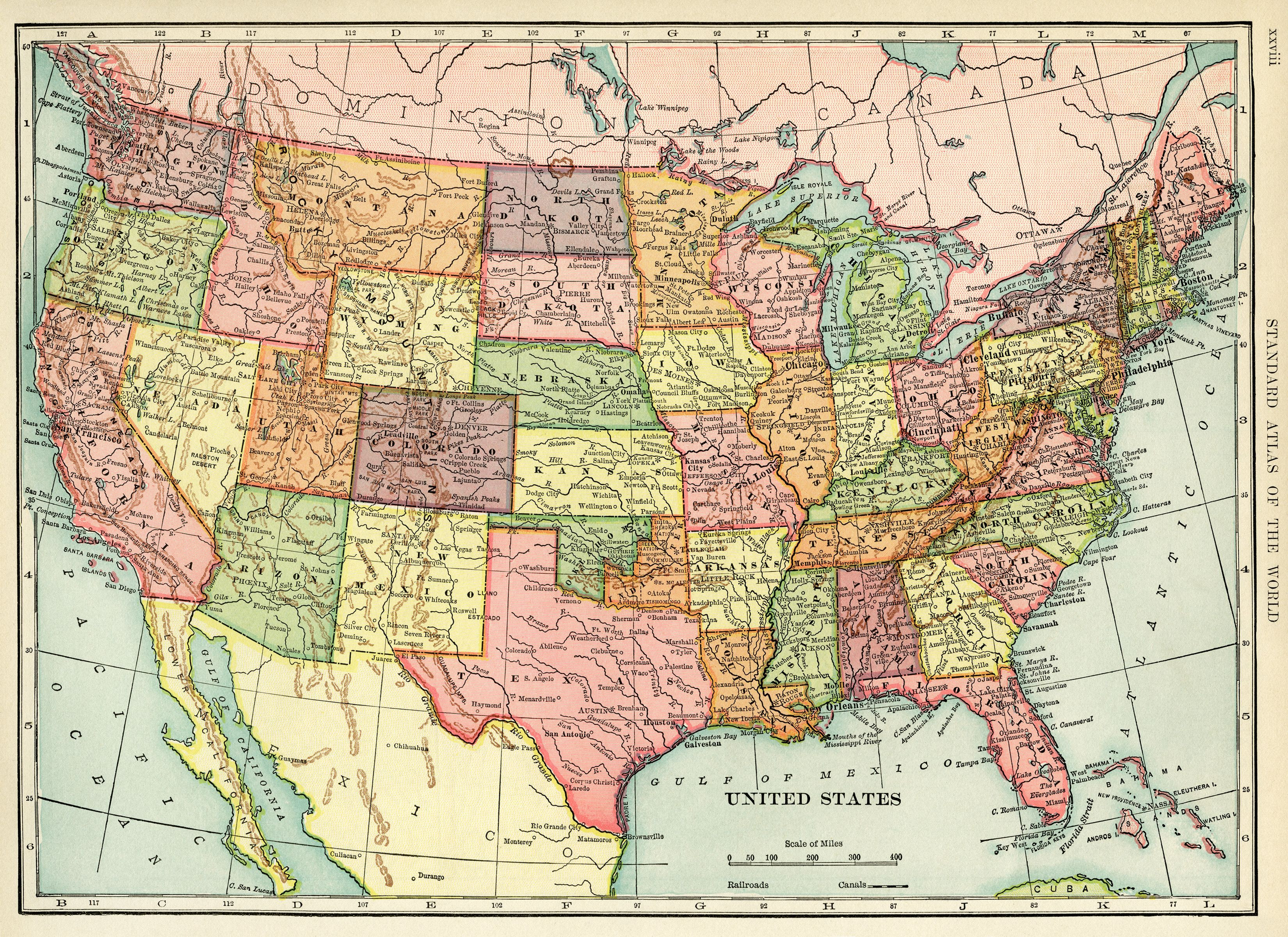 United States map vintage map antique map history geography