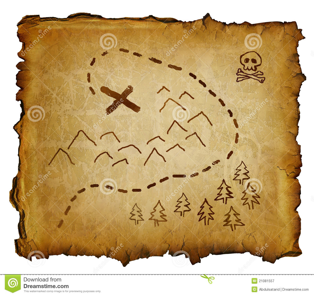 Pirate Treasure Map stock image Image of marks trees