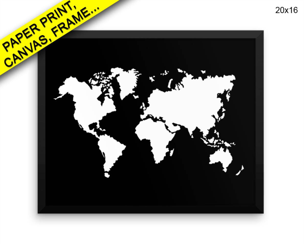 Printable World Map 11x17 Unique World Map Printed Poster World Map Framed World Map Home Art