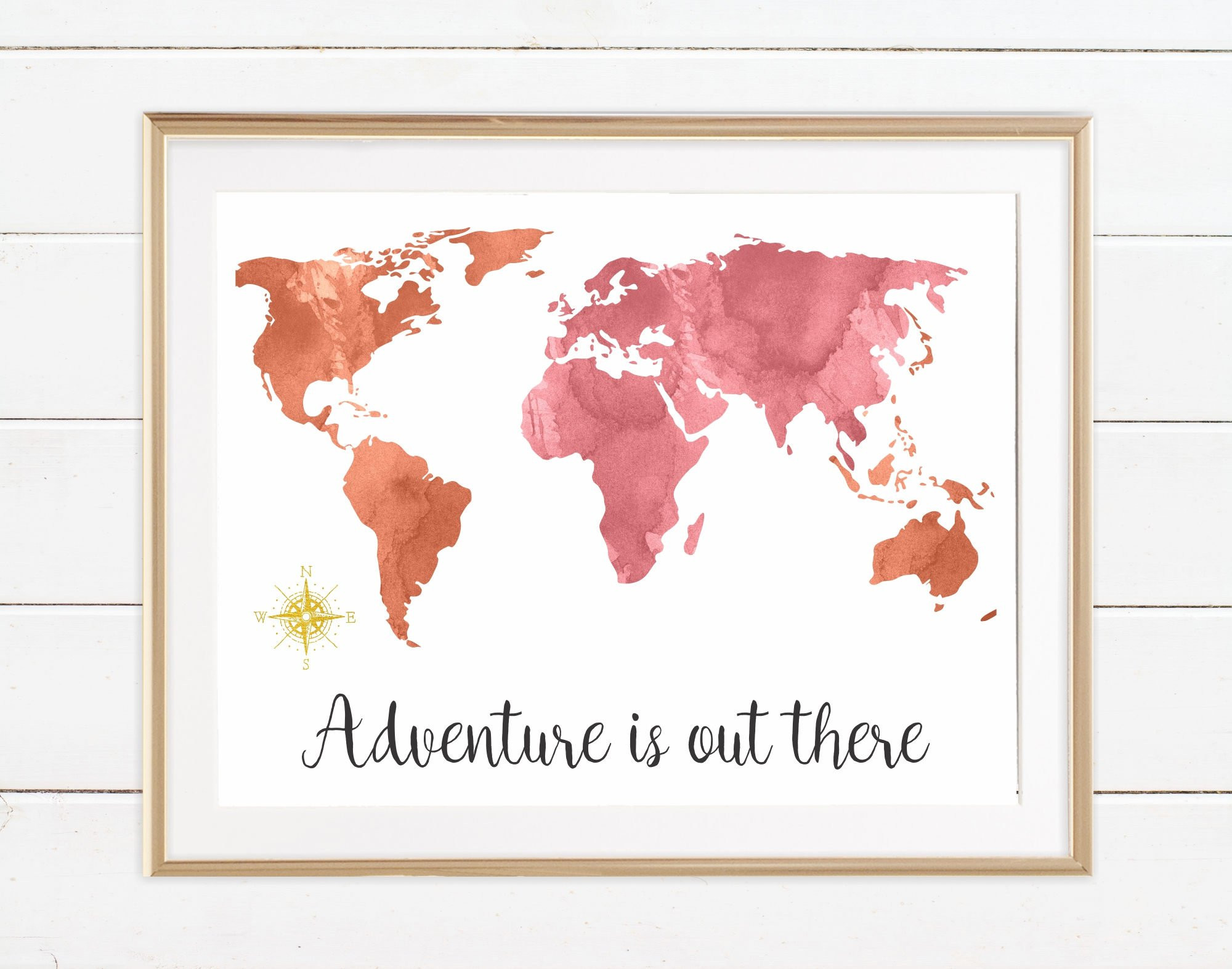Printable World Map 8x10 Beautiful World Typography Map Travel Quotes Gift Adventure Is Out