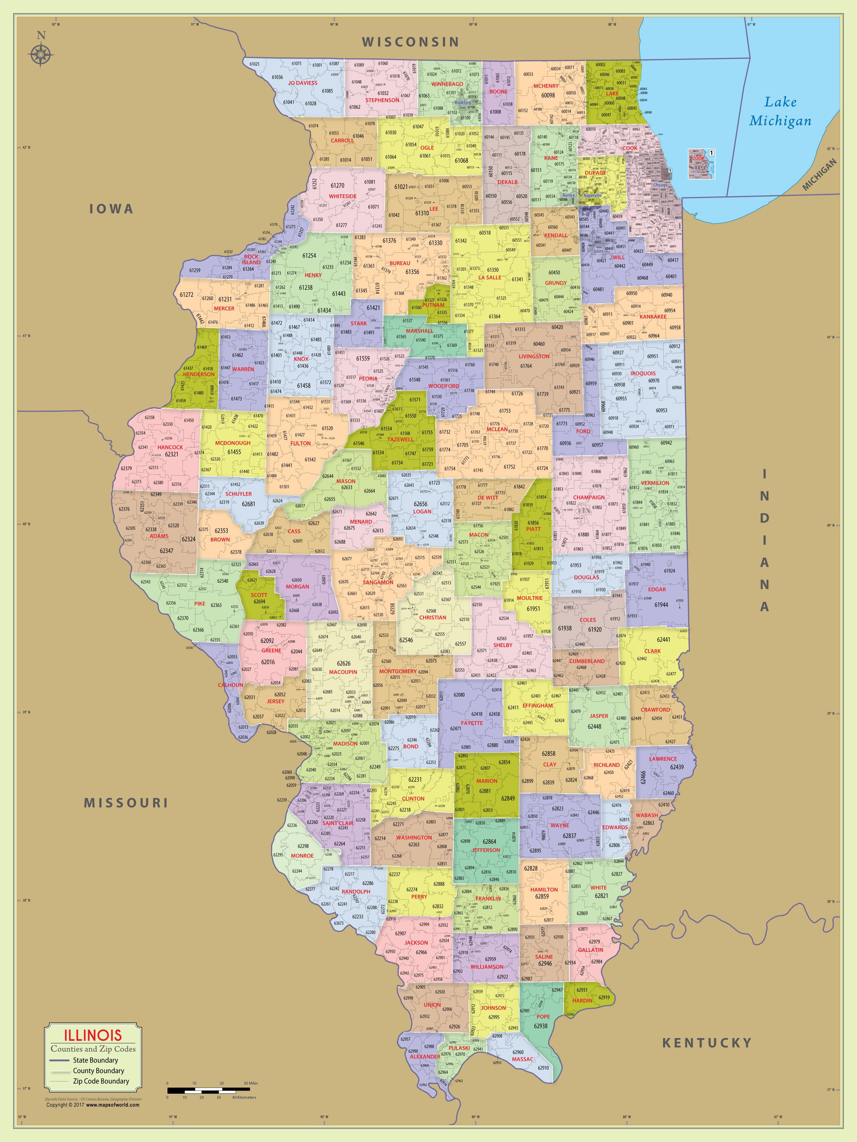 Printable Zip Code Map Lovely Illinois Zip Code Map with Counties 48″ W X 64″ H