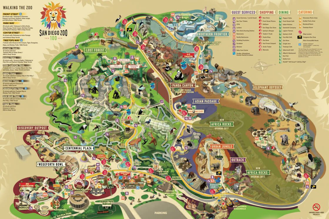 Map of the San Diego Zoo World Exploring Pinterest