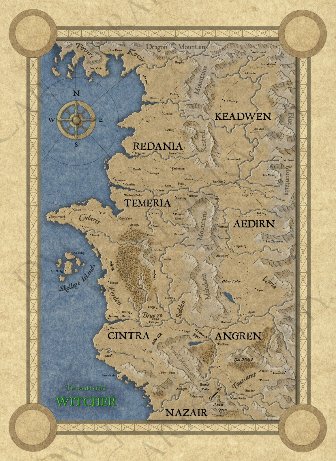 Witcher 3 Printable Maps Inspirational I Remade My Map Again This Time Its Done Digitally Feedback Is