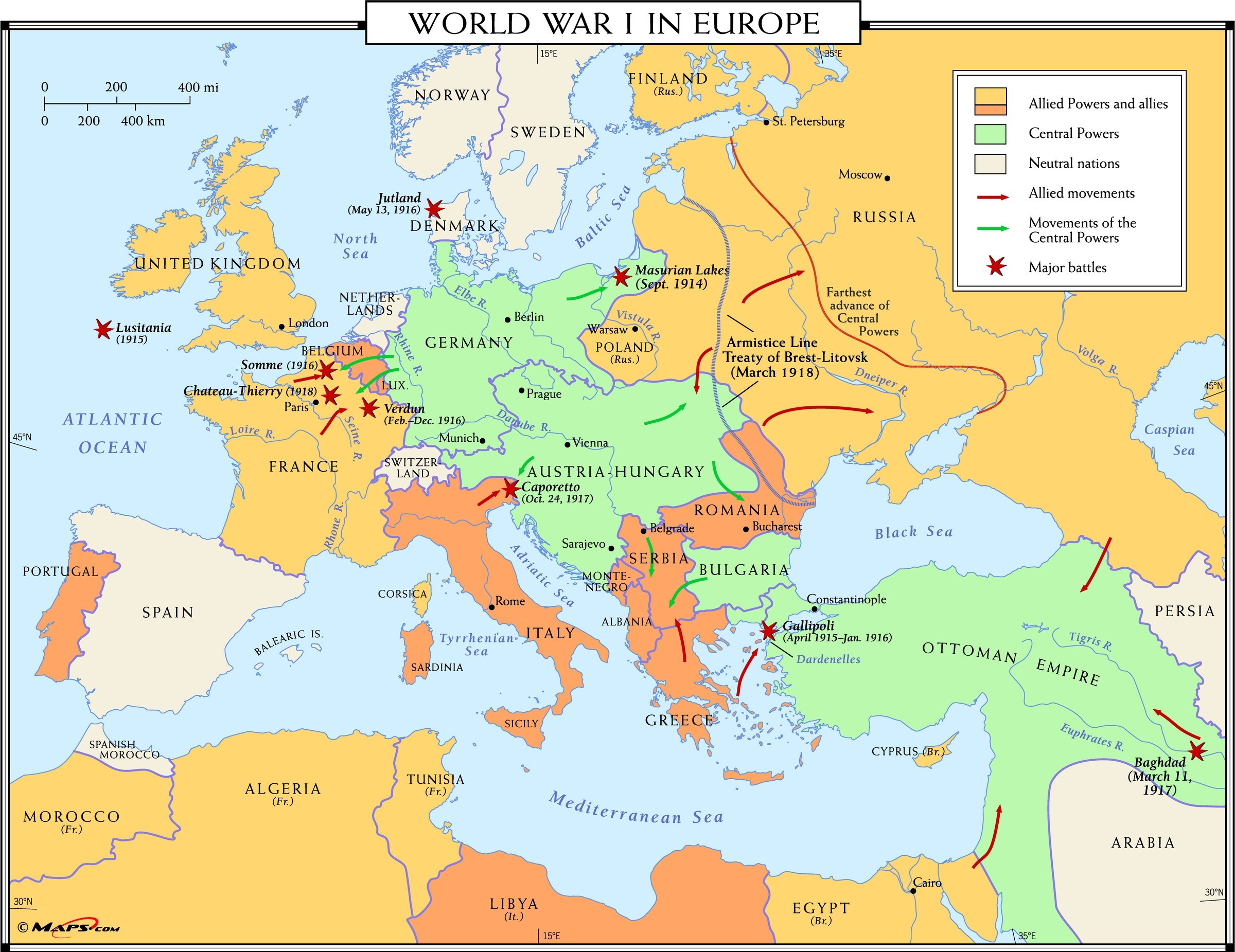 World War 1 Printable Map Lovely Category Europe 20