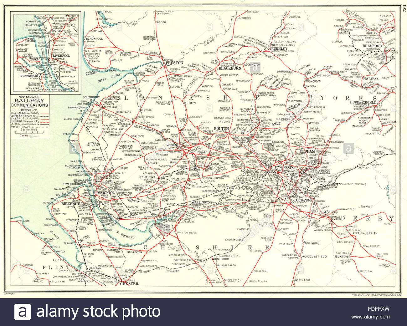 LANCASHIRE Cheshire Yorkshire Map showing Railway munications 1935 Stock Image