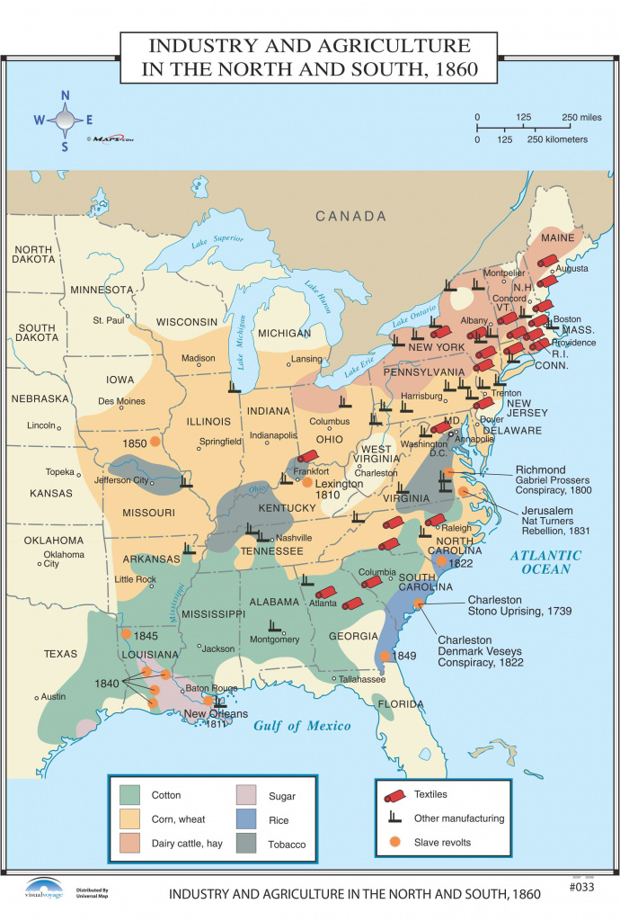 033 Industry & Agriculture In The North & South, 1860 – Kappa Map Group inside United States Industry Map