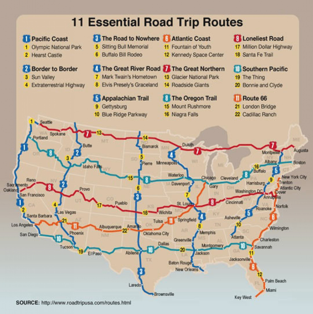 11 Essential Road Trip Routes In The U.s. - International Student in United States Road Trip Map