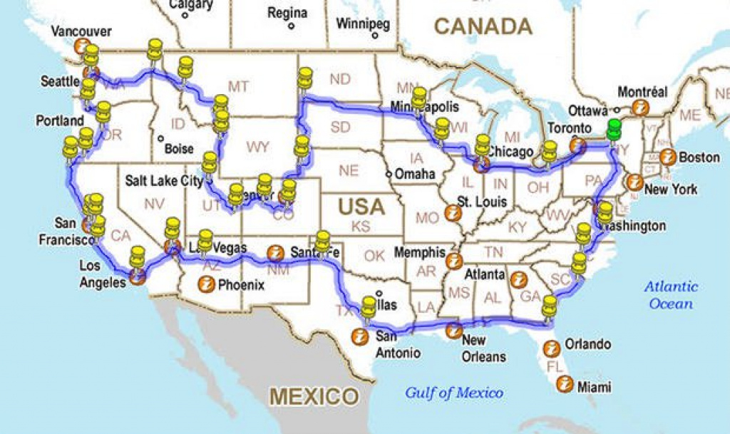 12,225 Mile Road Trip Around America In A 5-Minute Time-Lapse within United States Road Trip Map