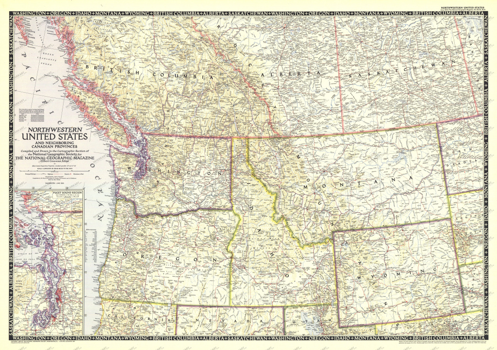 1950 Northwestern United States And Canadian Provinces Map - Canada within Map Of Northwest United States And Canada