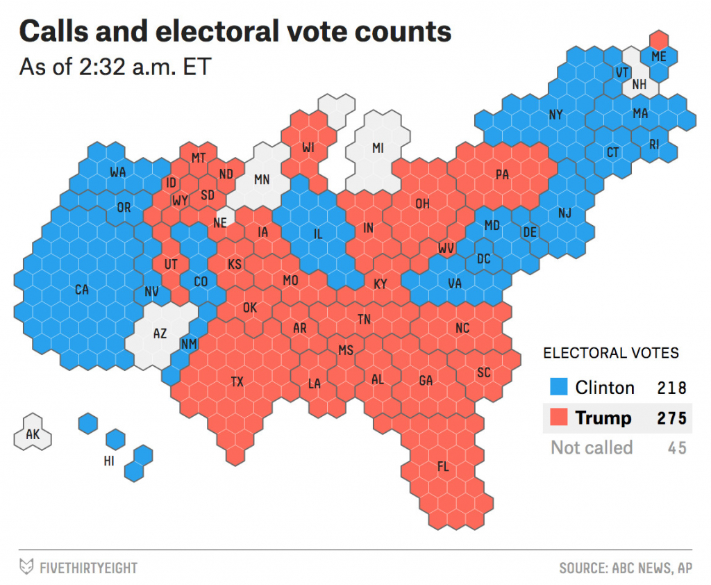 2016 Election Night Live Coverage And Results Fivethirtyeight Us inside States Electoral Votes 2016 Map