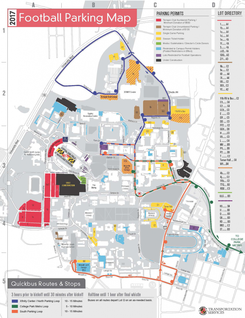 2017 Football Tailgating Guide - University Of Maryland Athletics pertaining to Penn State Rv Parking Map