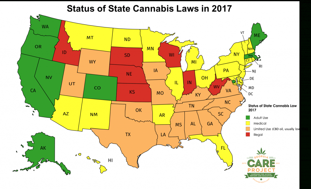 2017 Map Of Us State Cannabis Laws - Georgia Care Project inside Legal Marijuana States Map 2017