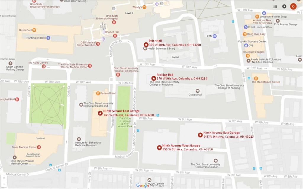 2018 Location & Parking pertaining to Ohio State Parking Map