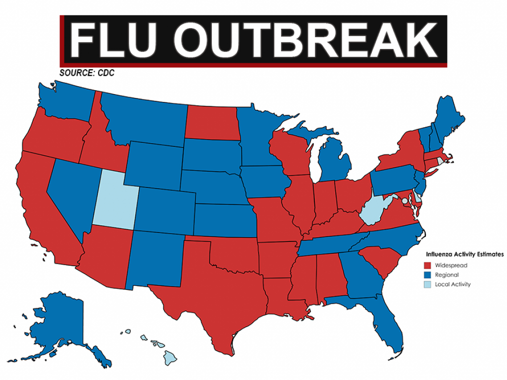 23 States Showing Widespread Flu Outbreaks - Abcactionnews Wfts-Tv throughout Washington State Flu Map