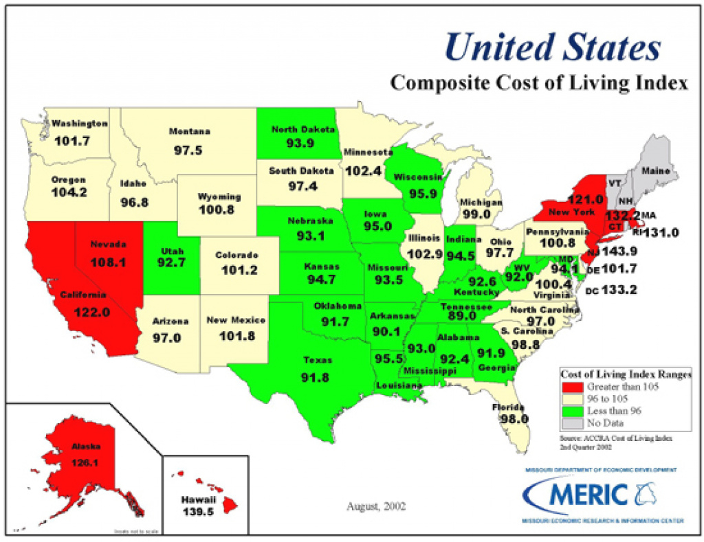 2Nd Quarter 2002 Cost Of Living intended for Cost Of Living By State Map
