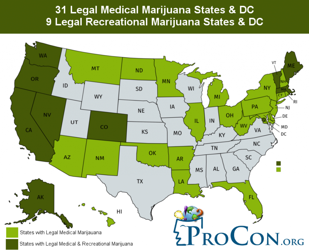 31 Legal Medical Marijuana States And Dc - Medical Marijuana throughout Medical Marijuana States Map