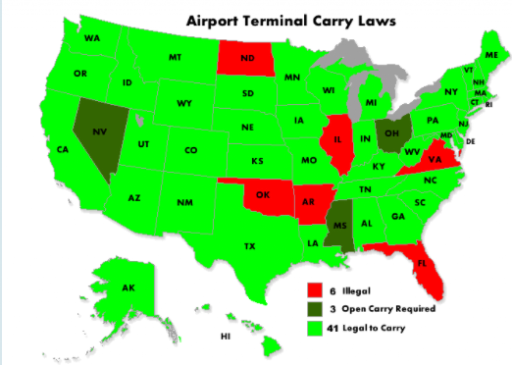 44 States Do Not Ban Lawful Firearms Carry At Airport Baggage Claim regarding Open Carry States Map 2017