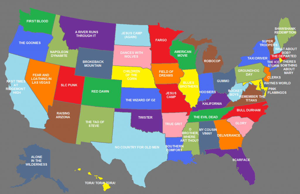 50 Movies That Represent All The States - Popoptiq throughout Map Of The United States With Names Of Each State