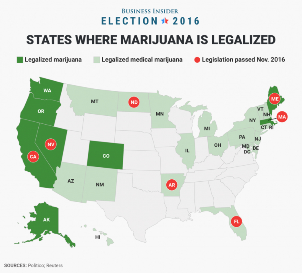 7 States That Legalized Marijuana On Election Day - Business Insider throughout States Where Weed Is Legal Map 2016