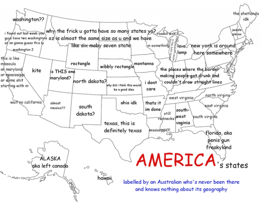 A Funny Map Of The United States As Labeledan Australian intended for Map Of The United States Of America With States Labeled