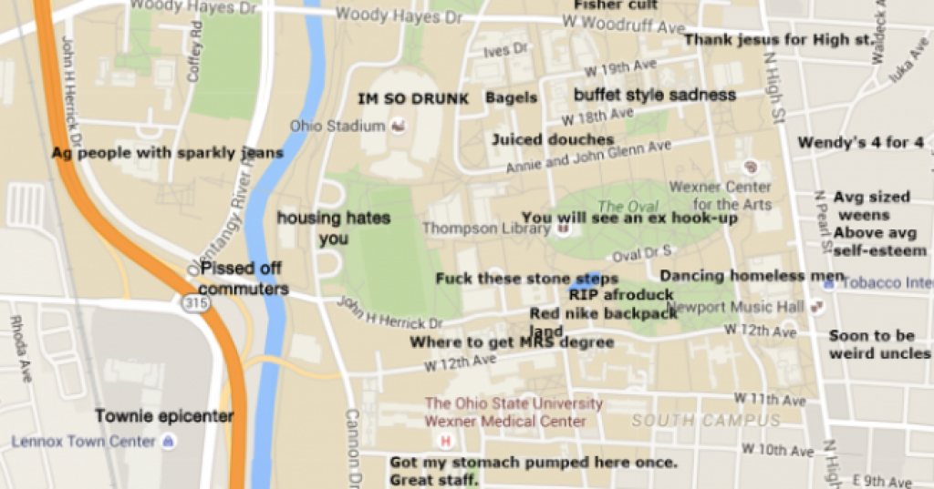 A Judgmental Map Of Ohio State University throughout Ohio State Map