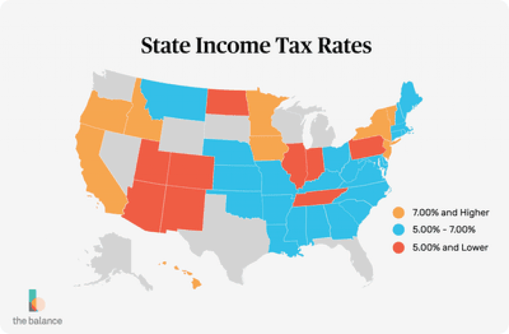 A List Of Income Tax Rates For Each State for State Income Tax Map