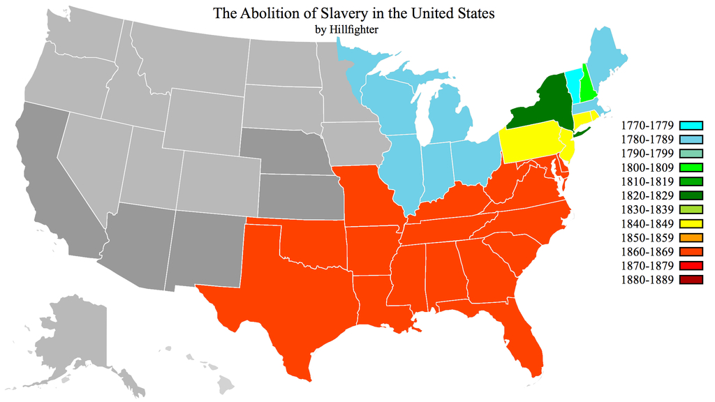 Abolition Of Slavery Ushillfighter On Deviantart in Map Of Slavery In The United States