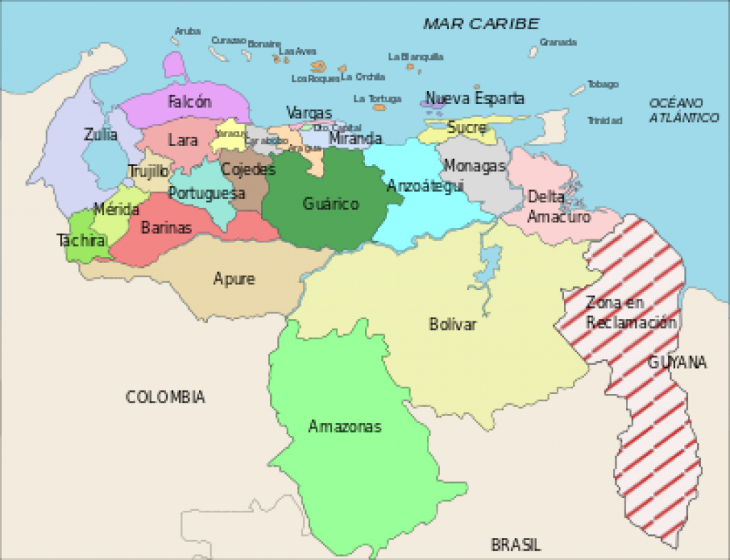 Administrative Divisions Of Venezuela - Wikipedia intended for Map Of Venezuela States And Cities