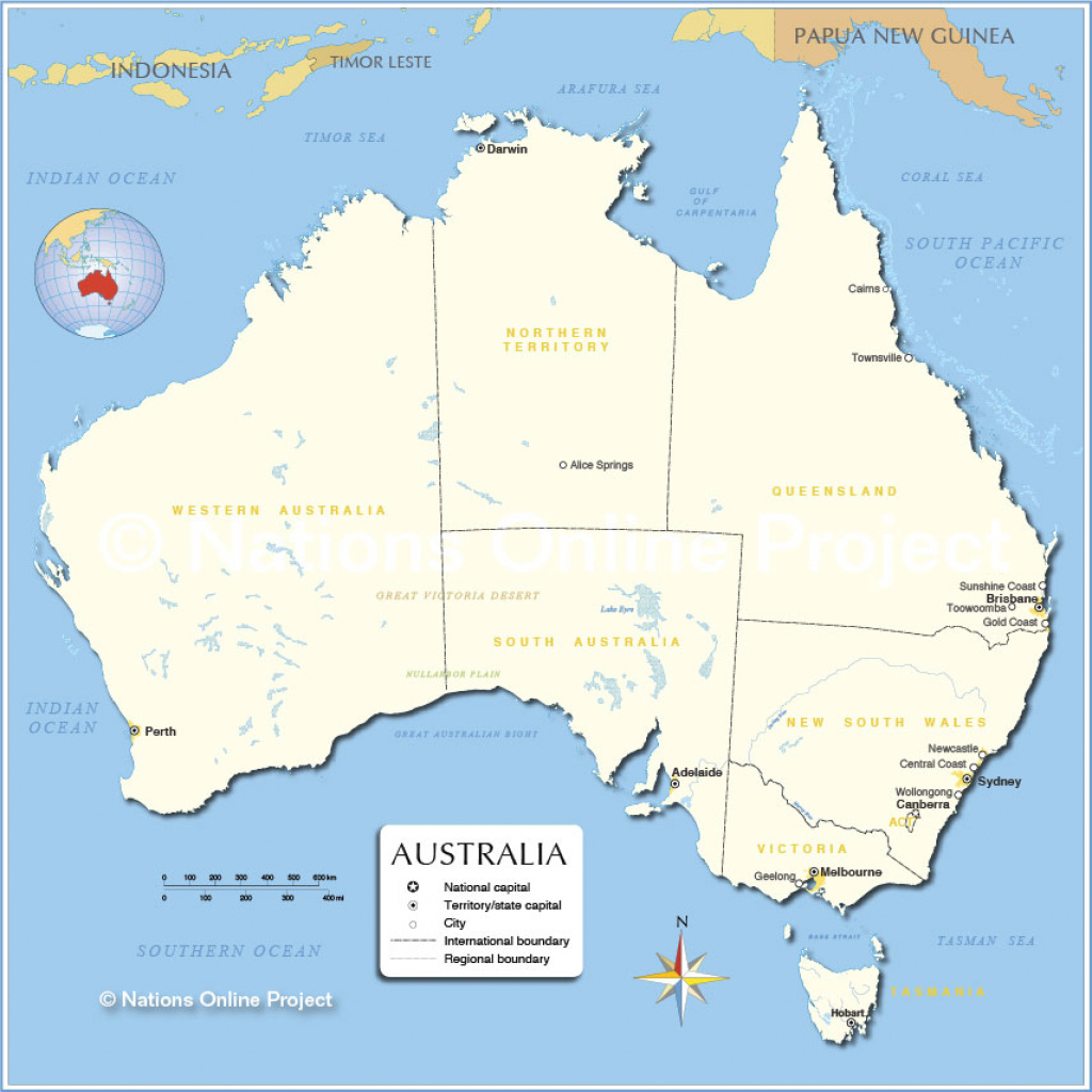 Administrative Map Of Australia (855Px) - Nations Online Project pertaining to Australian States And Territories Map