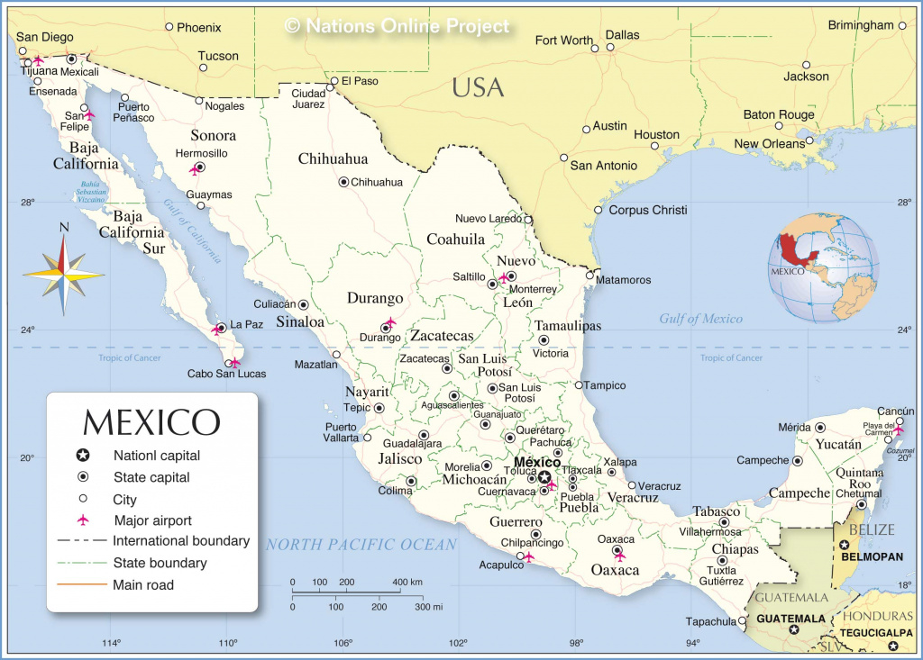 Administrative Map Of Mexico - Nations Online Project in Map Of Mexico And Its States