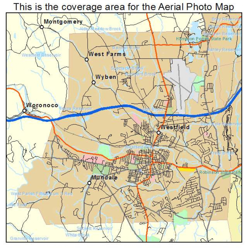 Aerial Photography Map Of Westfield, Ma Massachusetts for Westfield State Map