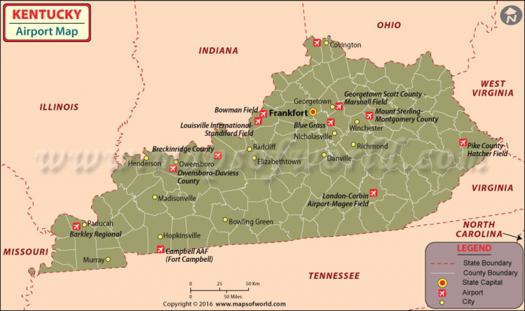 Airports In Kentucky, Kentucky Airports Map for Map Of Kentucky And Surrounding States