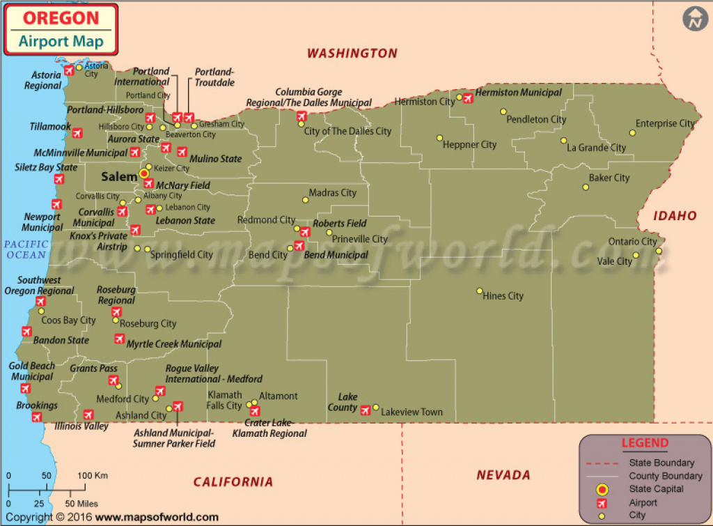 Airports In Oregon, Oregon Airports Map with regard to Washington State Airports Map