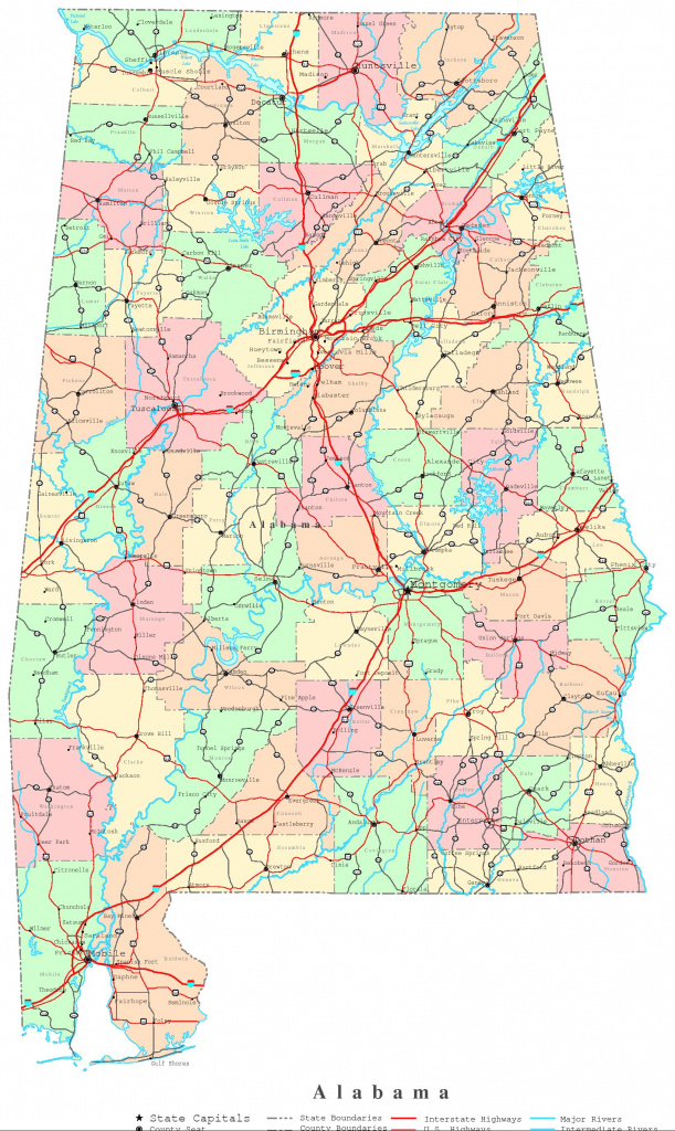 Alabama Printable Map for Alabama State Map Printable