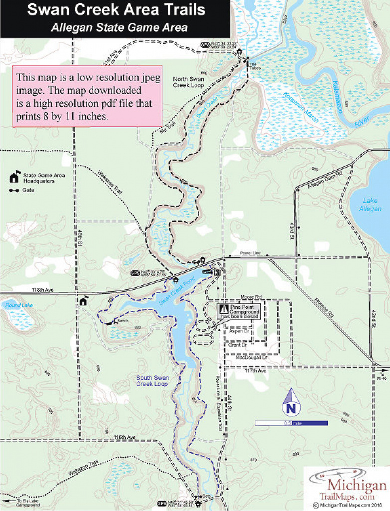 Allegan State Game Area for Allegan State Game Area Trail Map
