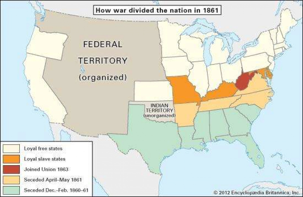American Civil War - The Military Background Of The War | Britannica with regard to Civil War Map Union And Confederate States