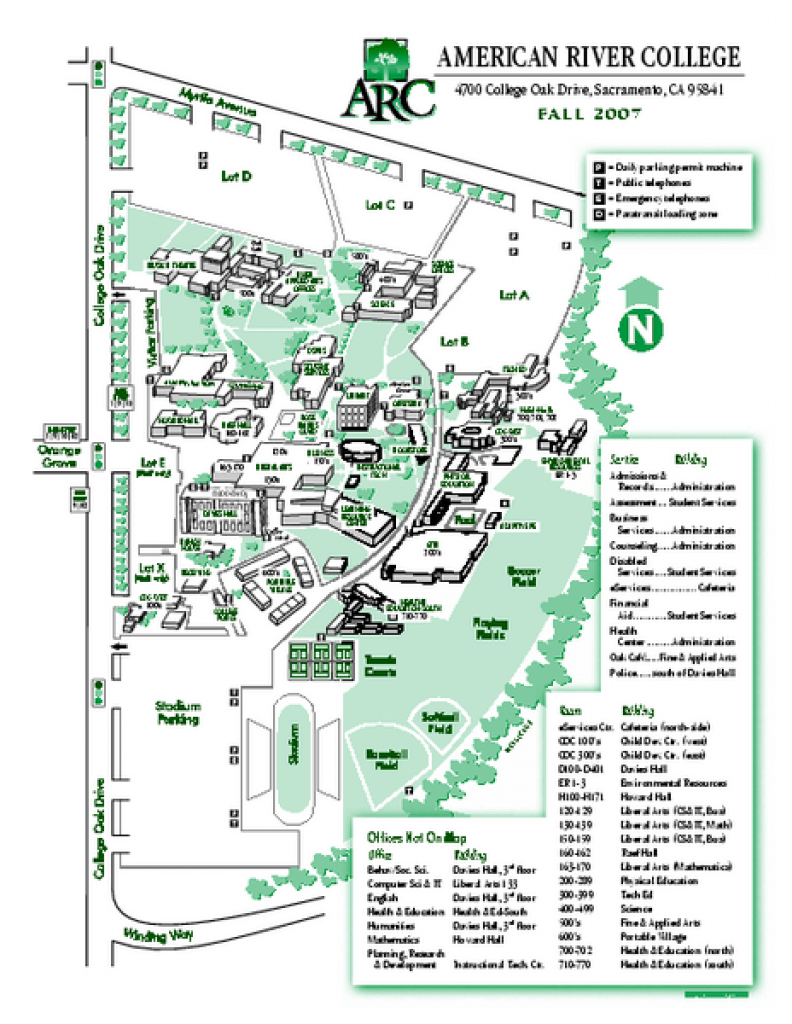 American River College Campus Map - 4700 College Oak Drive regarding Sac State Campus Map