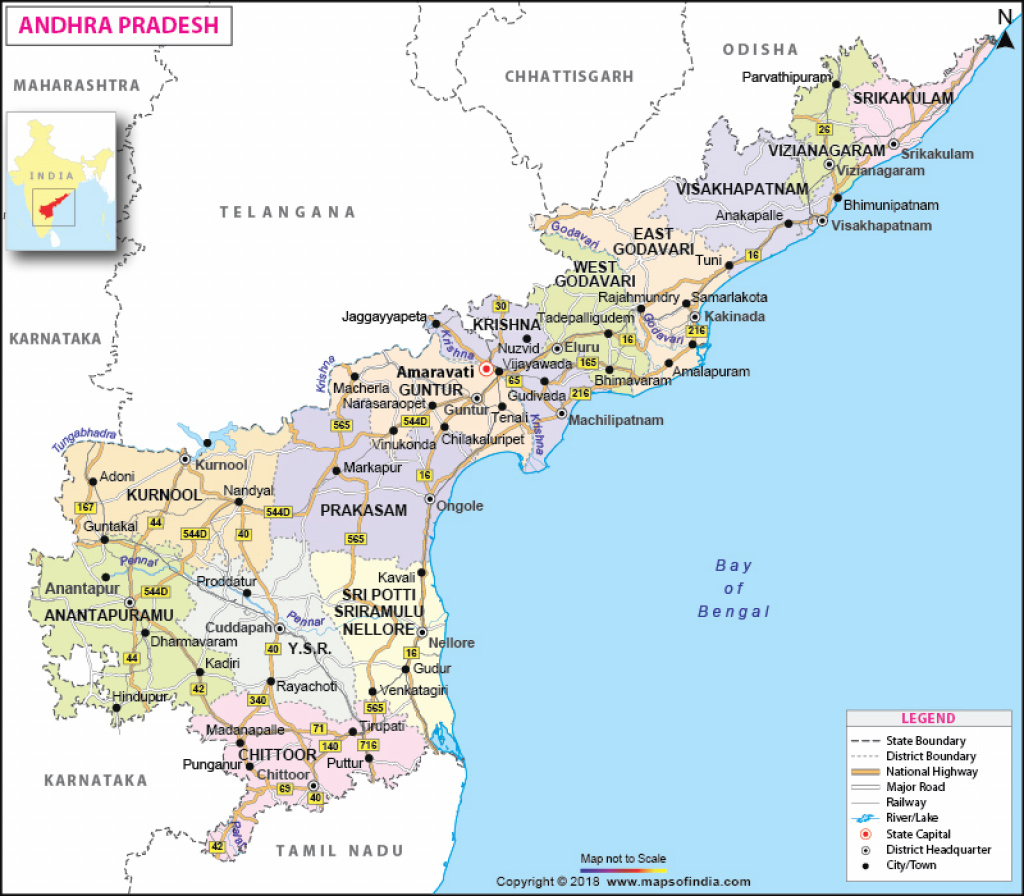 Andhra Pradesh, Travel, Districts, And City Information Map intended for Andhra Pradesh State Capital Map