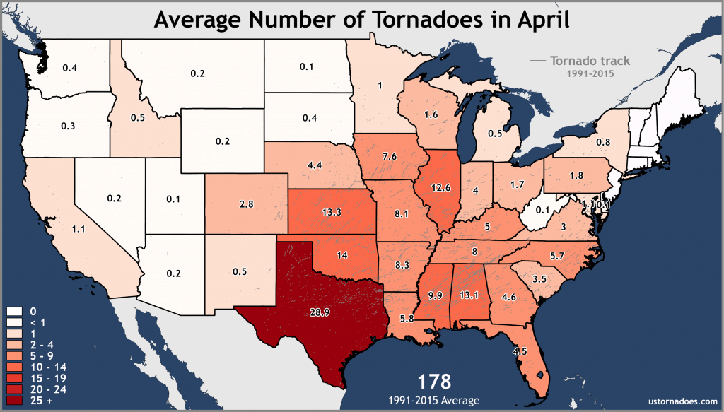 Annual And Monthly Tornado Averages For Each State (Maps) - U.s. intended for Tornado Alley States Map