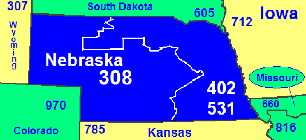 Area Codes 402 And 531 - Wikipedia inside Map Of Nebraska And Surrounding States