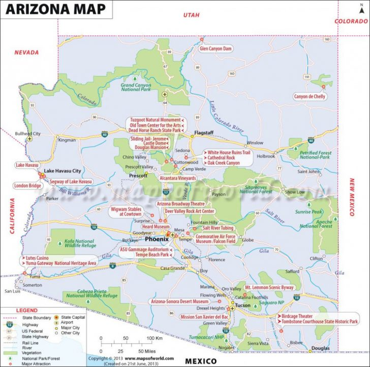Arizona State Map With Major Cities